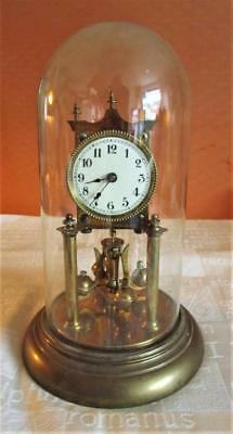 Early 20th Century German Anniversary Torsion Mantel Clock c/w Glass Dome
