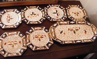 GAUDY WELSH SANDWICH SET MADE BY ARTHUR WOOD SANDWICH TRAY + 6 PLATES No1679/0