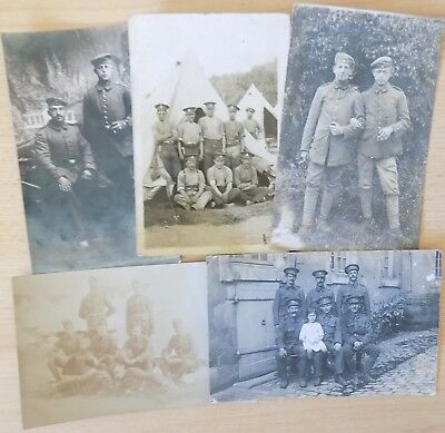 WWI Real Photo Postcards (5) Germany & British Army (inc Sherwood Foresters ?)