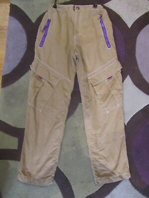 Mini Boden Cargo Trousers Age 11 - Brown / Thick Lined - Brown / Purple Trim