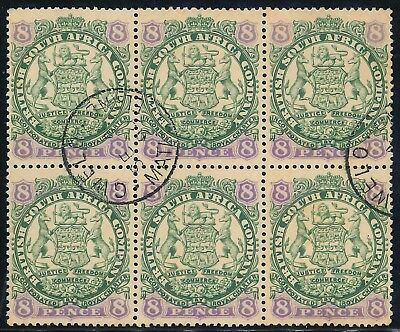 "Rhodesia BSAC 1896/97 ""Coat of Arms"" used Block of 8d stamps (SG 34)"