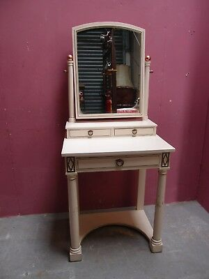 """Antique French """"empire"""" Painted Mirrored Dressing Table Labelled Printemps Paris"""