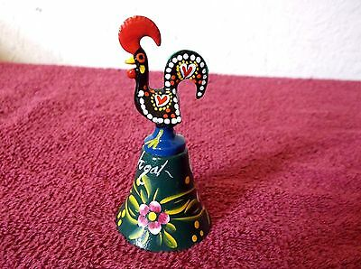"""Hand Painted Brass Bell Rooster Top Portugal 3   1/4""""tall"""