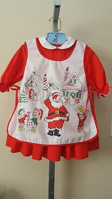 Vtg 1950's1960's? Polly Flinders Santa Claus & Elves Pinafore Dress Set 3T?