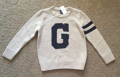 Toddler Boy Size 4 4T Baby Gap Oatmeal G Logo Crew Neck Knit Sweater
