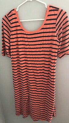 Splendid A Pea In The Pod Maternity Coral and Navy Striped Dress-Size Large