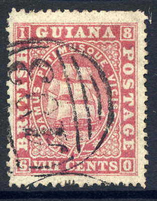 British Guiana 1875-76 8C Deep Rose Fine Used With Duplex Cancel. Gibbons 112.