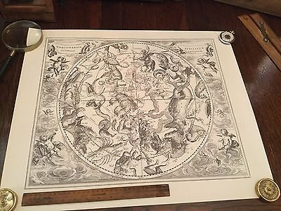 Antique Celestial Astronomy Astrology Map Lithograph Print Engraving