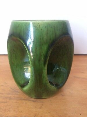 Lovely Vintage Retro HOLKHAM POTTERY Green 'Owl Eye' Mug