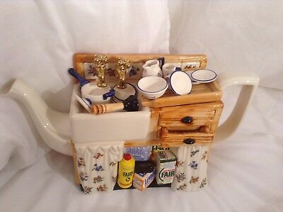 Cardew Collectable Novelty Large Kitchen Sink Teapot And China, Lovely Condition