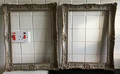 Matching Pair Of Vintage Painted And Gilded Picture Frames