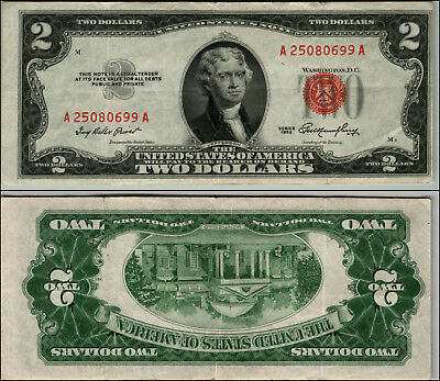 1953 $2 Dollar Bill Old Us Note Legal Tender Paper Money Currency Red Seal J846