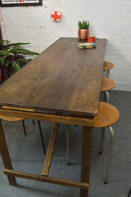 1 x Vintage Wooden Folding Trestle Table Desk Dining Table (qty avail)