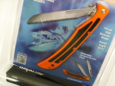 HAVALON Blaze Orange BARACUTA Bone Saw Folding Knife + Sheath + Blades! 115BZSW