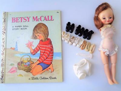 "1959 American Character 8"" Betsy McCall Doll + Shoes Undies Little Golden Book"