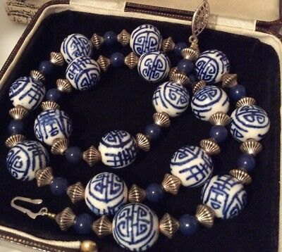 Vintage Jewellery Stunning Chinese Porcelain Chunky Bead Necklace