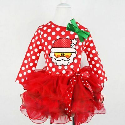 Newborn Baby Girls Kids Christmas Party Santa Tulle Tutu Skirts Dresses Outfit