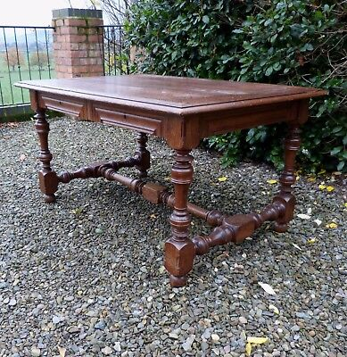 Lovely Antique French Solid Oak Desk with Two Drawers, Beautiful Turned Legs