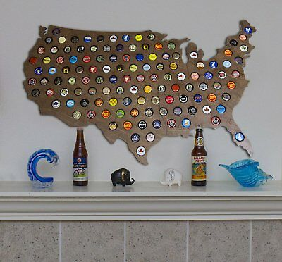 USA Beer Bottles Bottling Cap Map Dark Stain Craft Beer Cap Holder NEW Patriotic