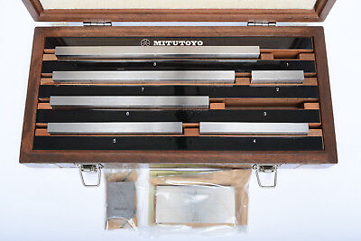 """Mitutoyo 516-126 BE1-8M-2 Gr. 2 gage block set, with new 1"""" & 3"""" blks., VG cond."""