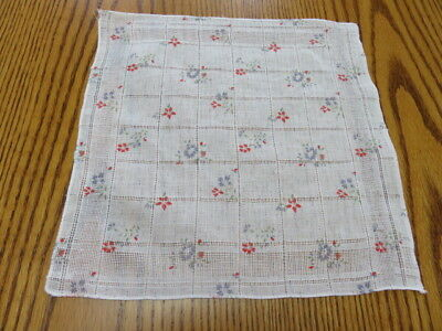 "Vintage Hankie/handkerchief - White - Red And Blue Flowers - 11"" By 11"""
