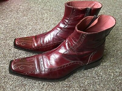 Jo Ghost leather Italian boots blood red