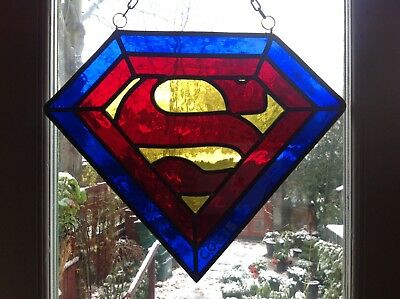 Stained Glass Superman Panel Large