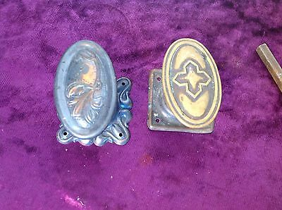 Vintage Pair oval Brass Door Knob Handle decorated Square Back Plates & Post