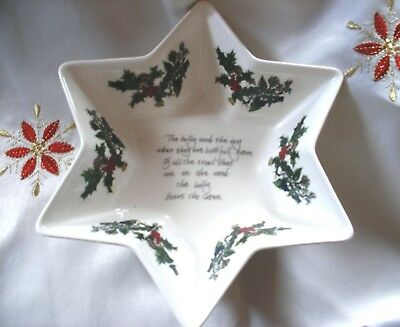 Bnwt Reduced! Portmeirion Large Star Dish Holly & Ivy Christmas. Brand New
