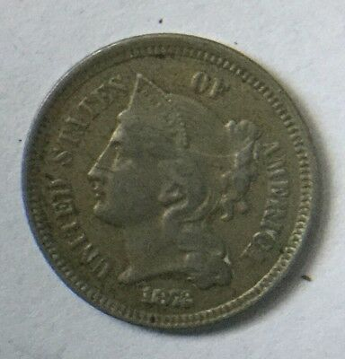 1872 Three Cent Piece U.S coin