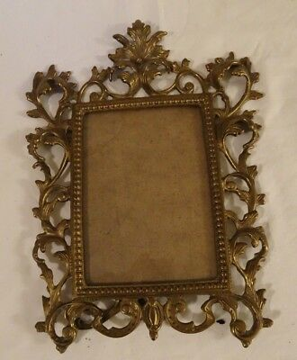 BEAUTIFUL ANTIQUE SOLID BRASS ORNATE EASEL PICTURE FRAME  fits 5 x 7 picture