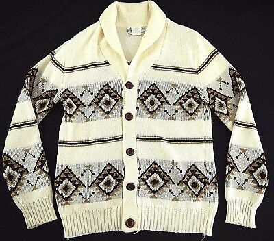 VINTAGE 70s KMART mens XL shawl collar WESTERN WEAR cardigan sweater THE DUDE