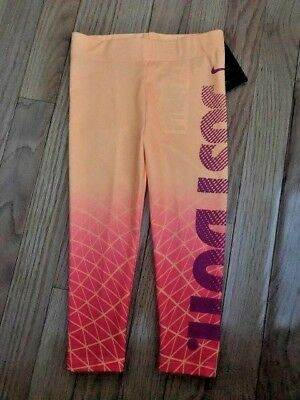 NWT Nike 2T Girls Peach Cream JUST DO IT Dri-Fit Sport Leggings 26B373-513 $30