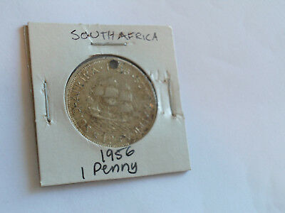 1956 South Africa 1 penny coin South African one pennies Elizabeth II Zuid Afrik