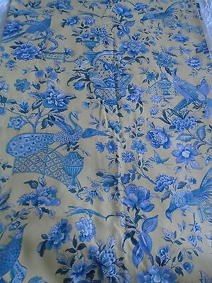 """fabric curtain remnant beautiful exotic birds/flowers blue/yellow 3 3/4 yds x54"""""""