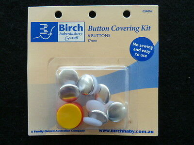 Button Covering Kit Birch self cover 6 buttons 17mm