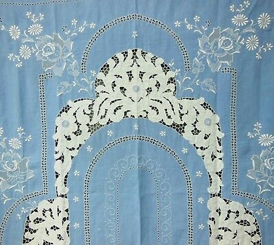 VTG Cutwork Linen Hand Embroidered Blue Madeira Roses Banquet Tablecloth 70x144