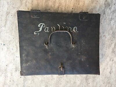 Antique maritime Sailmakers tool box with serving mallet leather palm and more