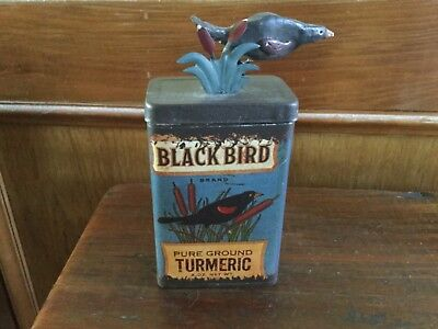 Antique Vintage BlackBird spice tin, Turmeric, Wooden Bird on lid, RARE!! GREAT