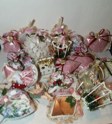 Lot of 21 Vintage Victorian Style Christmas Ornaments Birdcage Angels Hearts