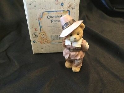 Cherished Teddies Jedediah 617091 Giving Thanks For Friends Boy Pilgrim