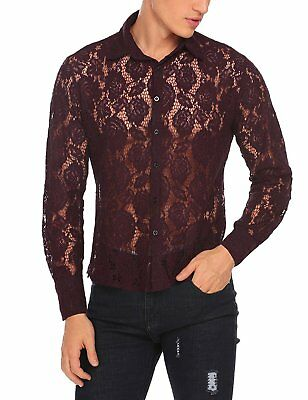 Coofandy Mens See Through Sexy Lace Mesh Long Sleeve Slim Fit Shirt