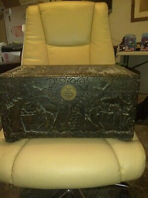 "Old Vintage Antique Carved Wood Pictorial Scene Chinese Box Chest 18"" x 11"" x 9"""