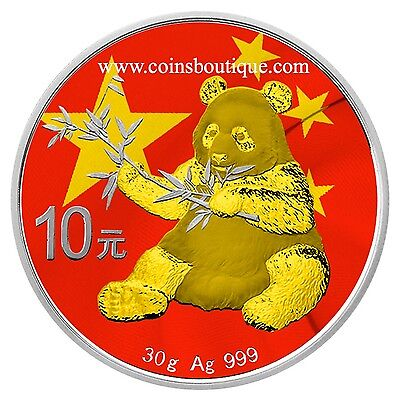 Chinese Flag Panda  Silver Coin 24K Gilded 2017