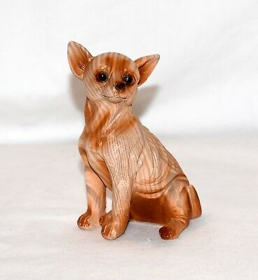 """New 3.5"""" Miniature Adorable Chihuahua Puppy Dog Carved Wood Look Statue"""