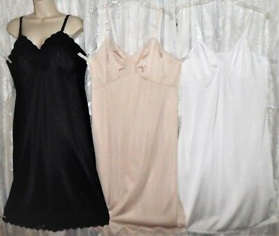 VTG Lot 3 Black Ivory White Quality Soft NYLON Dress SLIPS SLIP Lace Trim 40 42