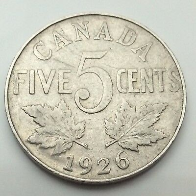 1926 Canada Near 6 Six Five 5 Cents Canadian Nickel Circulated Coin C675z