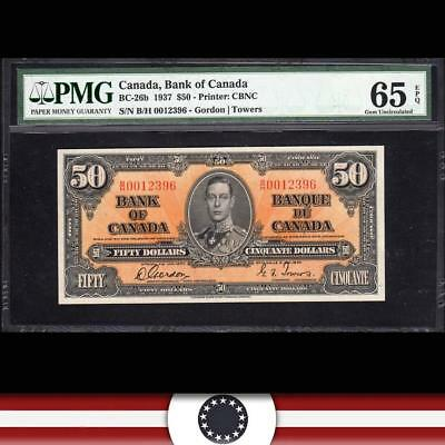 GEM 1937 $50 BANK of CANADA Bank Note PMG 65 EPQ   BC-26b