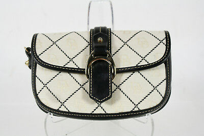 Dooney Bourke White Signature Canvas Black Leather Trim Wristlet Purse