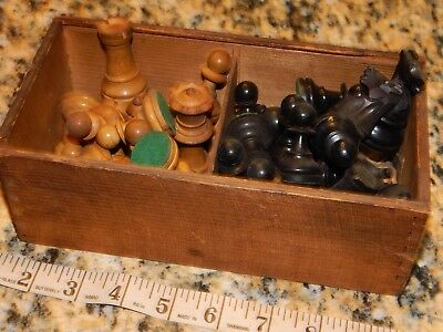 antique chess art deco victorian carved wow! vintage weighted chunky heavy wood